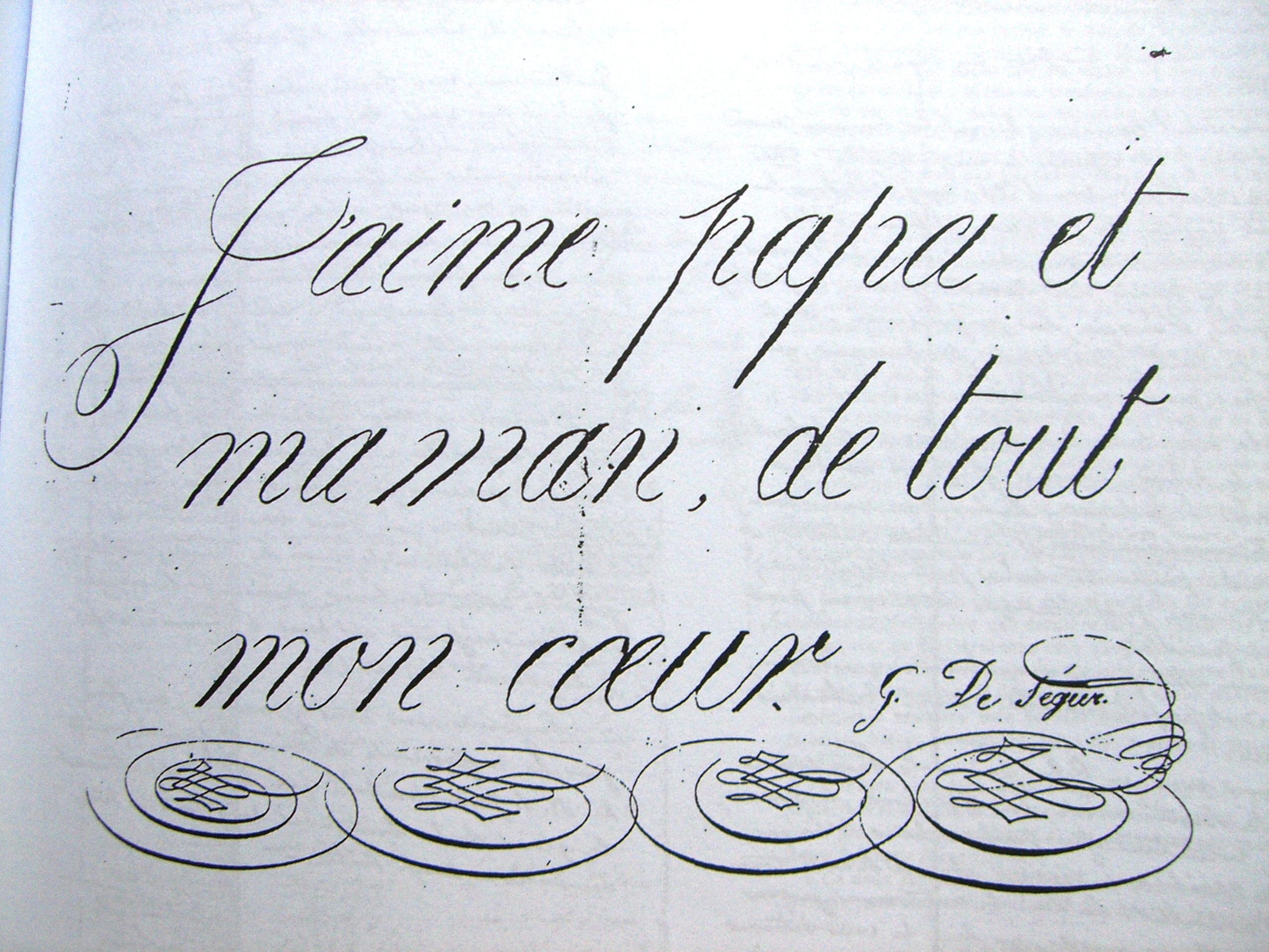 Ecrit-enfant-Monseigneur-de-Segur